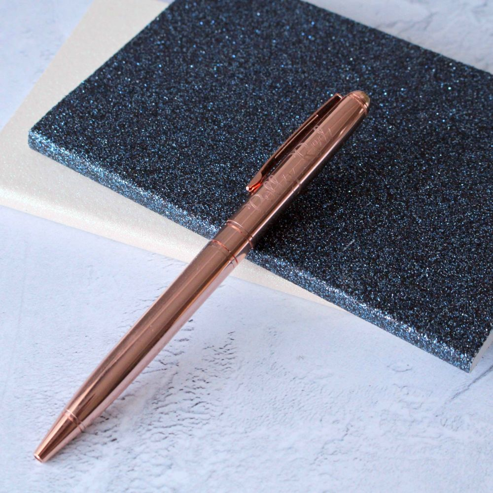 Luxury Rose Gold Engraved Ballpoint Pen