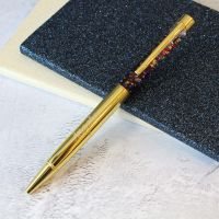 Gold Rainbow Glitter Personalised Engraved Ballpoint Pen