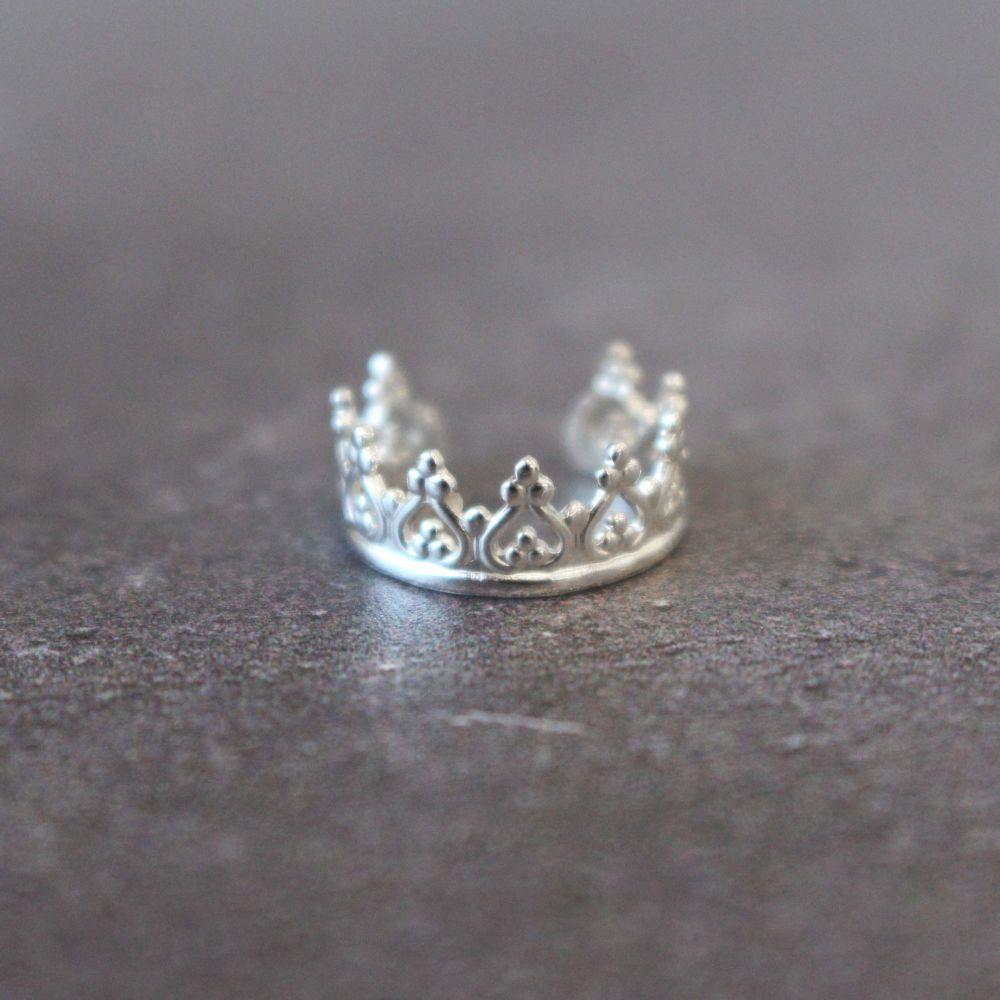 Sterling Silver Crown Ear Cuff