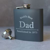 Worlds Best Dad - Personalised Grey or Black Hipflask