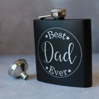 Best Dad Ever - Personalised Black or Grey Hipflask