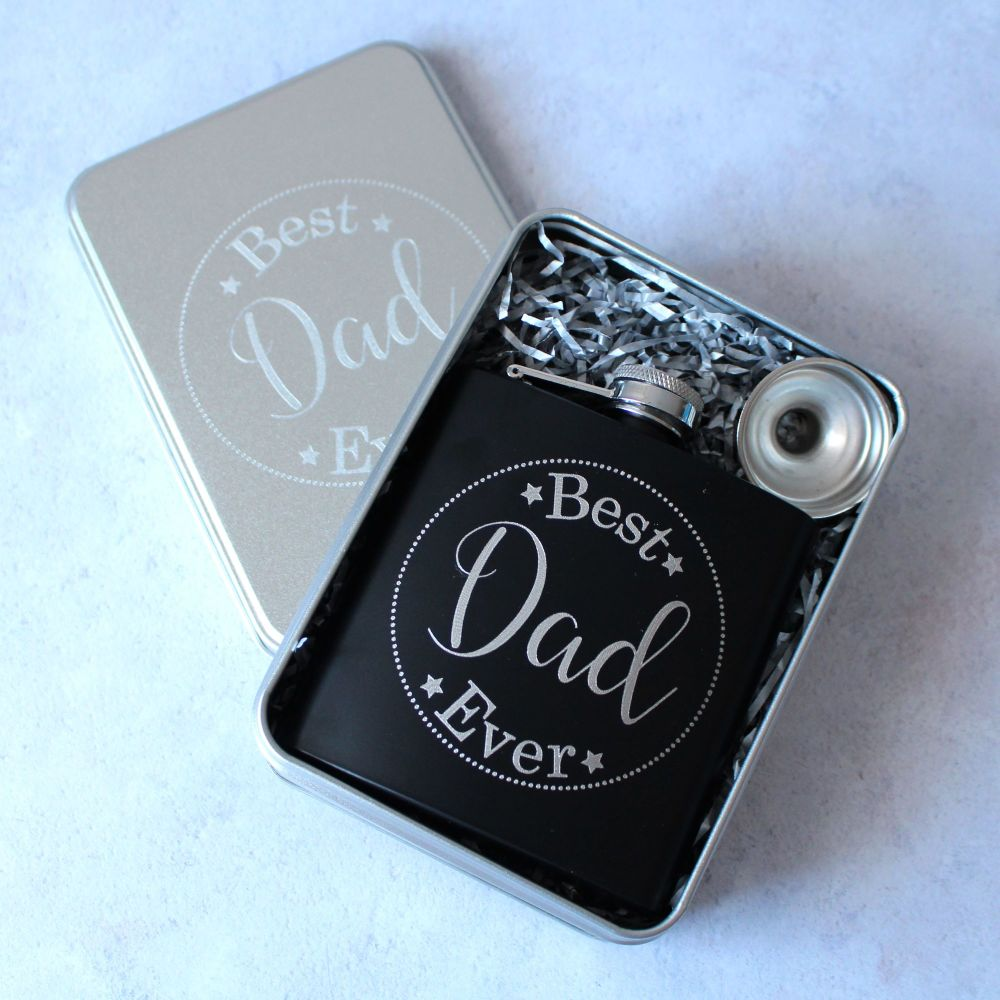 Best Dad Ever - Personalised Black or Grey Hip flask in Presentation Tin