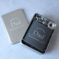 Worlds Best Dad - Personalised Grey or Black Hipflask in Presentation Tin