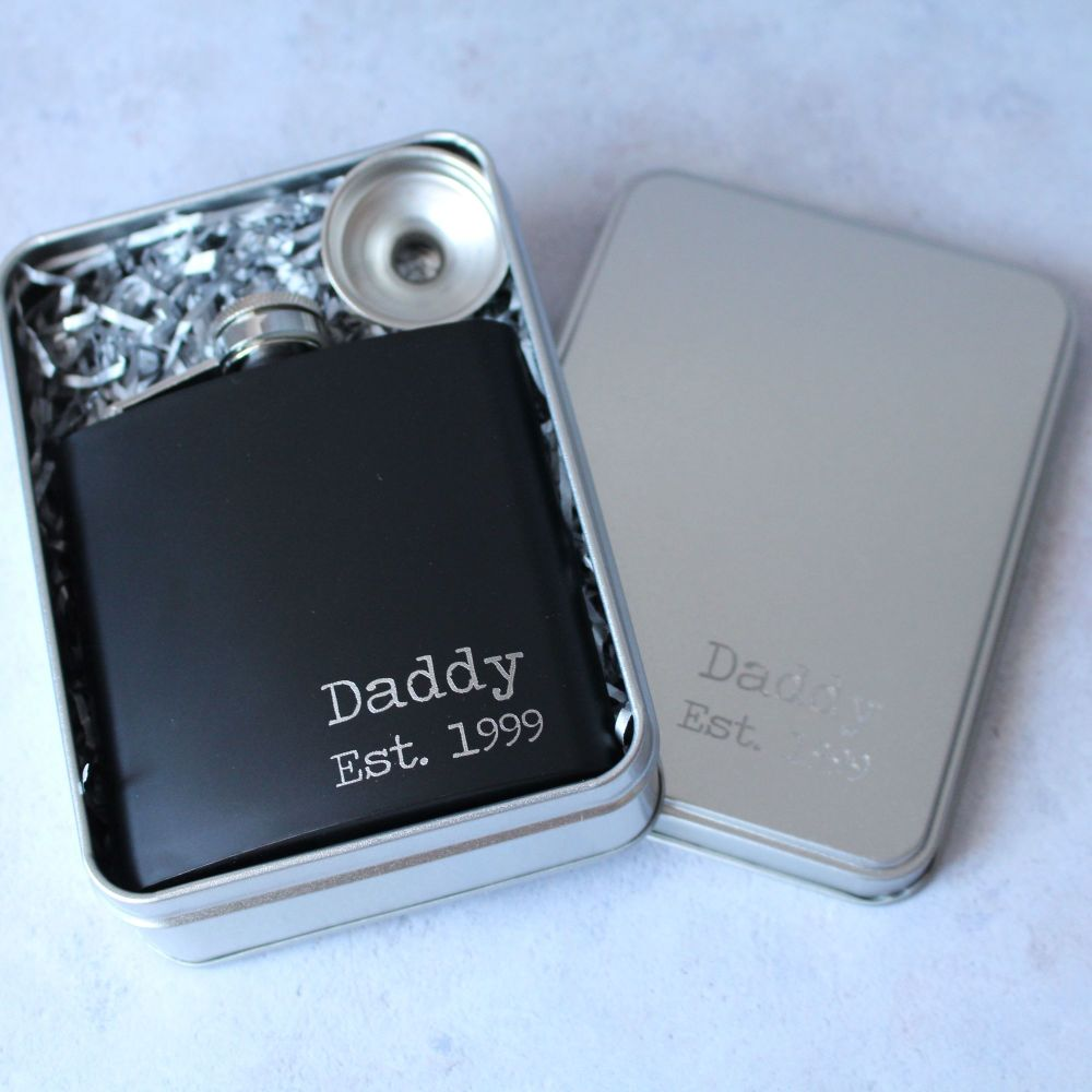 Daddy Est Year - Personalised Black or Grey Hipflask with Presentation Tin