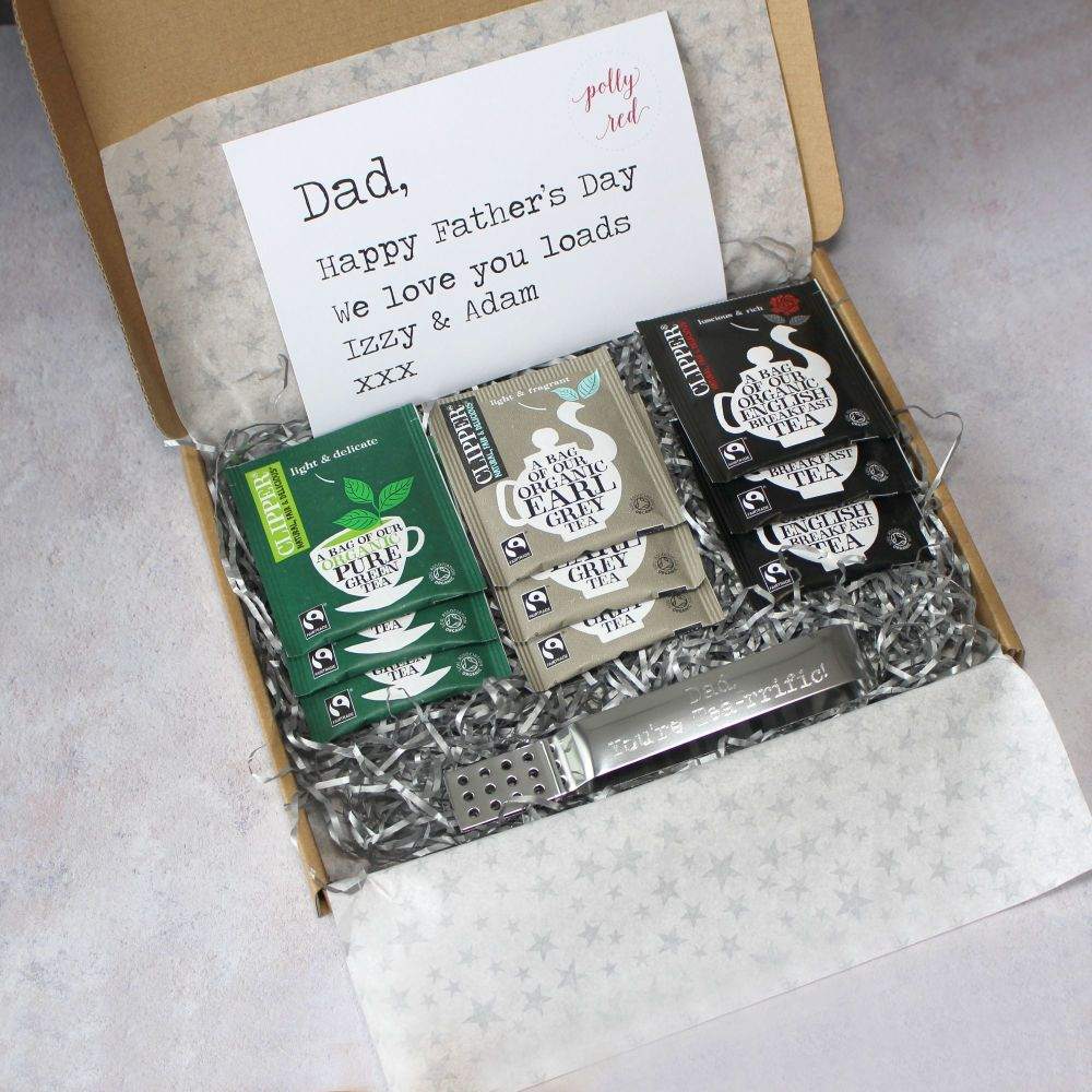 Personalised Organic Tea Letterbox Gift with a selection of tea & engraved