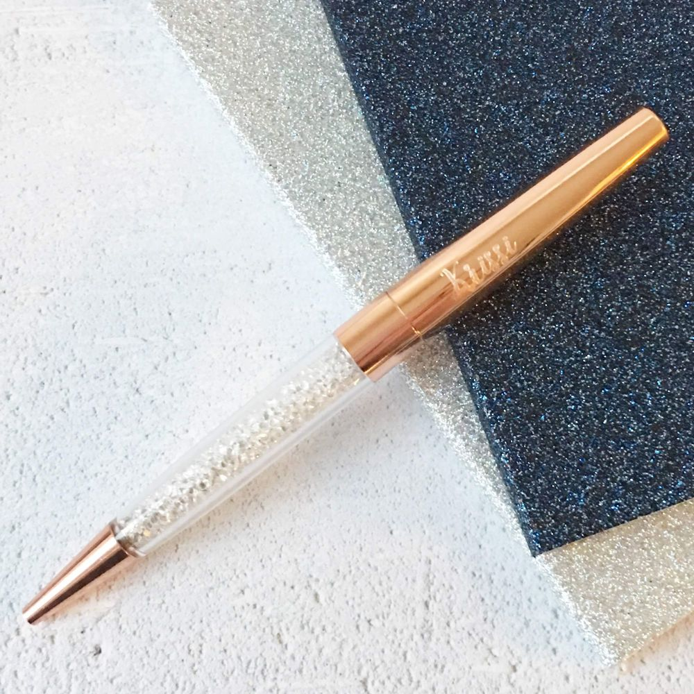 Personalised Rose Gold & Crystal Ballpoint Pen | Wedding Pen | Polly Red