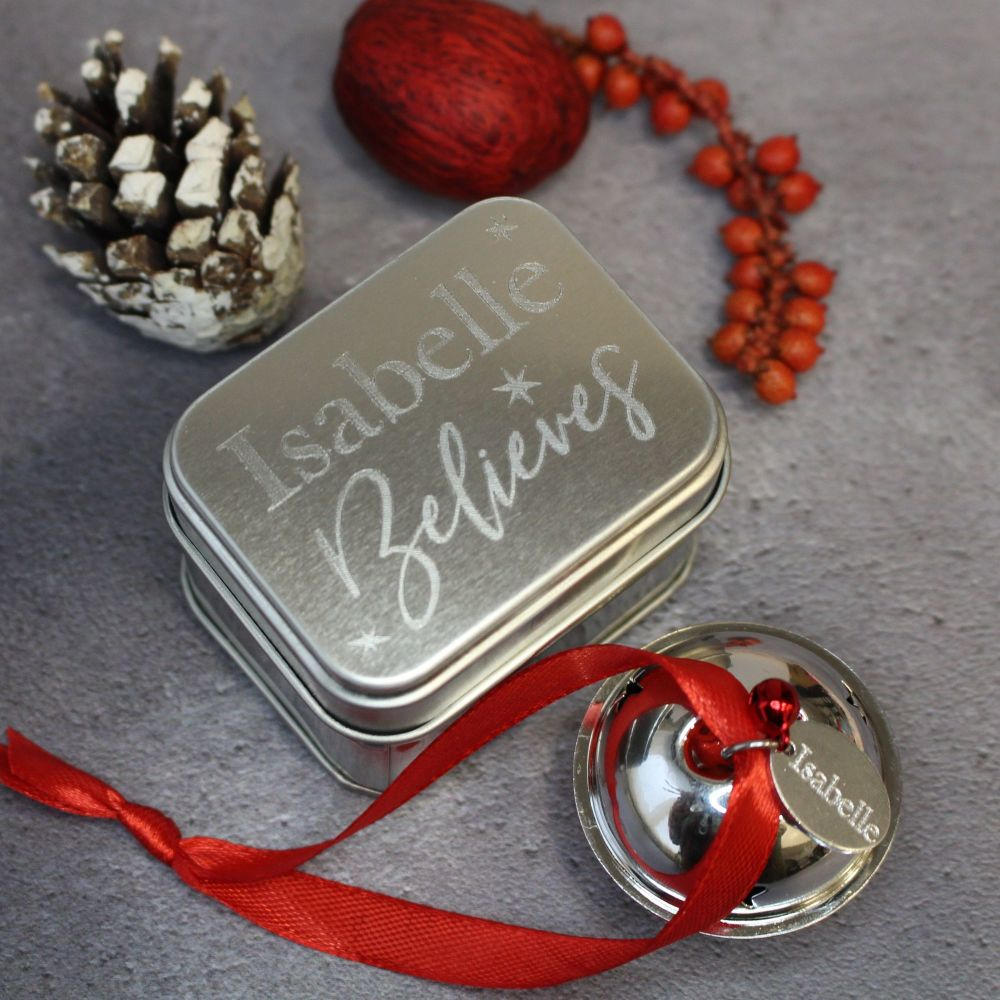 Jingle Bell Christmas Tree Ornament in Engraved Presentation Tin