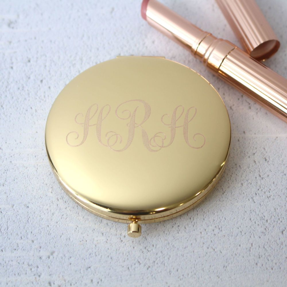 Gold Monogram Personalised Compact Mirror | Bridemaids Gifts | Polly Red