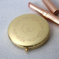 Gold Wreath Monogram Personalised Engraved Compact Mirror