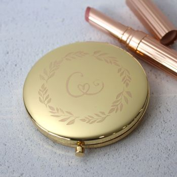 Gold Wreath Monogram Personalised Compact Mirror