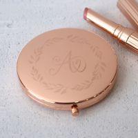 Rose Gold Wreath Monogram Personalised Compact Mirror