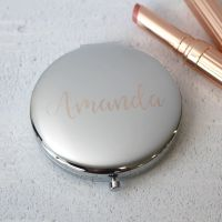 Silver Personalised Compact Mirror