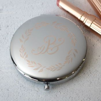 Silver Wreath Monogram Personalised Compact Mirror