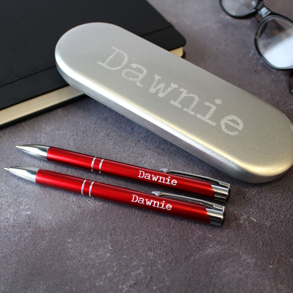 Red Personalised Engraved Pen & Pencil Set | Stationery | Polly Red
