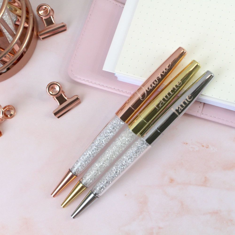 Personalised Engraved Rose Gold, Gold or Silver Sparkle Ballpoint Pen