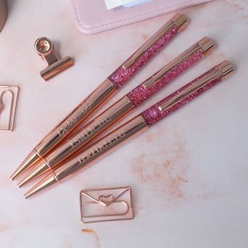 Personalised Engraved Rose Gold Pink Glitter Sparkle Ballpoint Pen