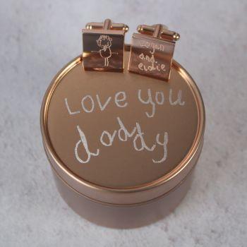 Personalised Rose Gold Handwriting or Drawing Cufflinks & Tin