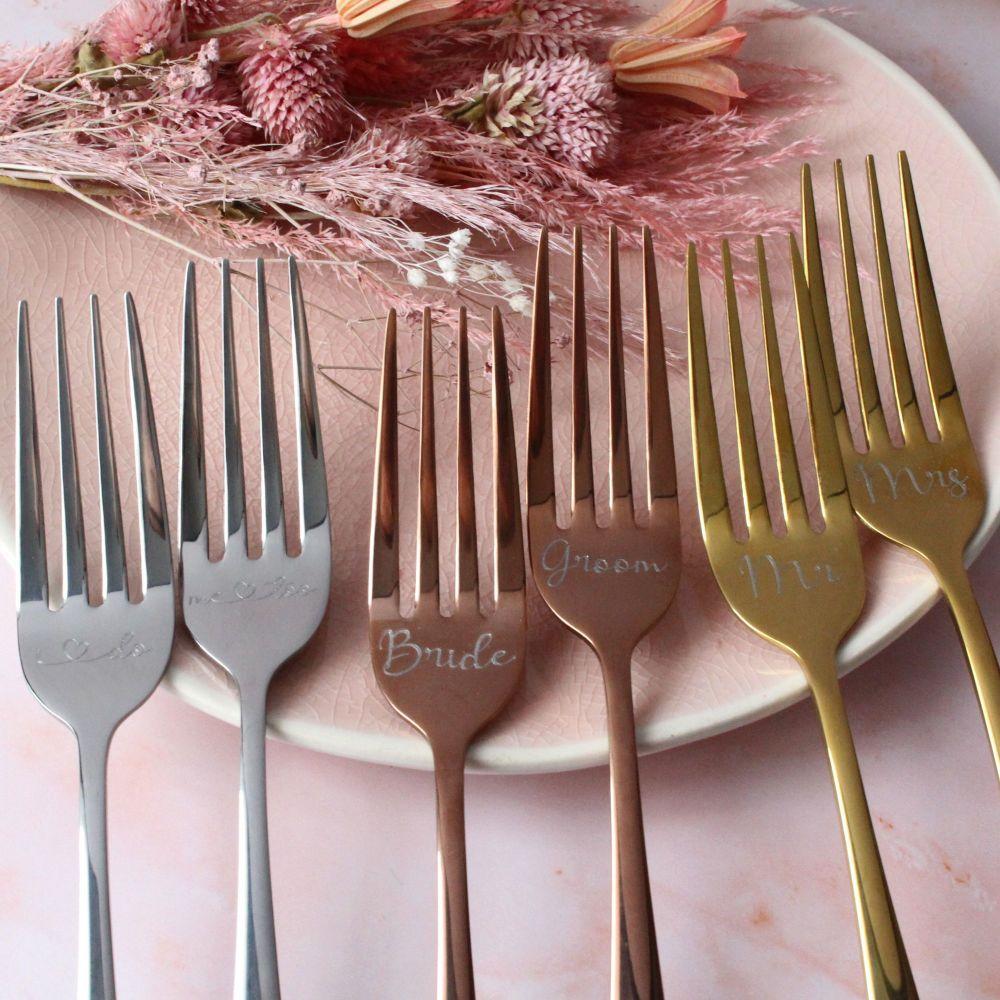 Wedding Cake Fork Set   Personalised Wedding Forks   Polly Red
