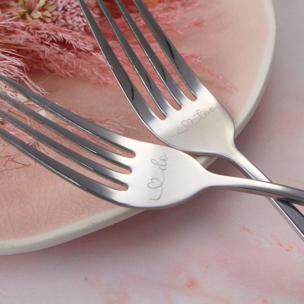 Silver Wedding Cake Fork Set   Wedding Cake Fork Set   Engraved Wedding For
