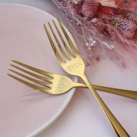 Gold Wedding Cake Fork Set