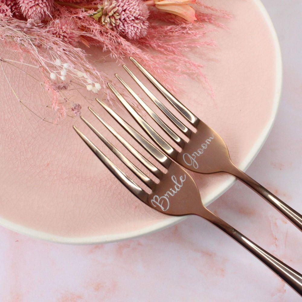 Rose Gold Wedding Cake Fork Set | Personalised Wedding Forks | Polly Red