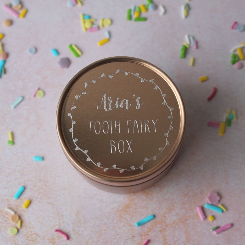 Rose Gold Tooth Fairy Box with Wreath Design