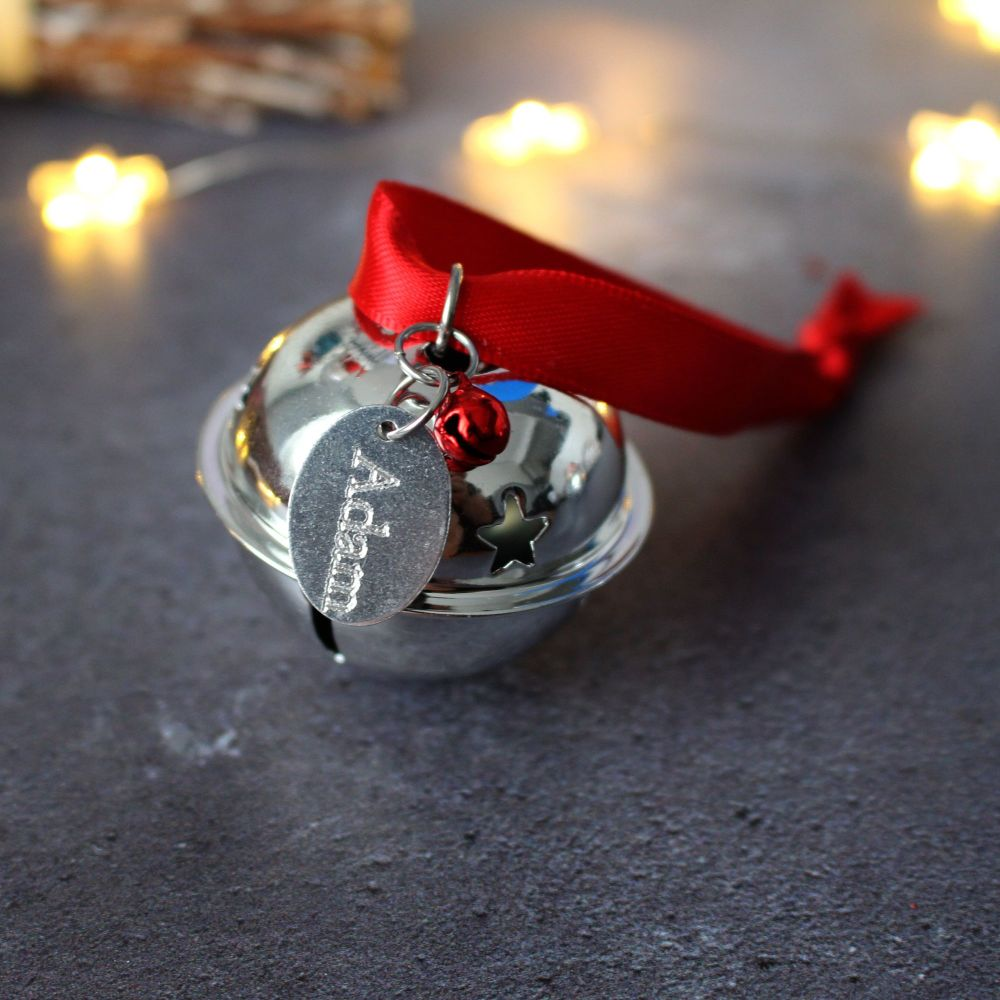 Personalised 'Believe' Jingle Bell Christmas Tree Decoration