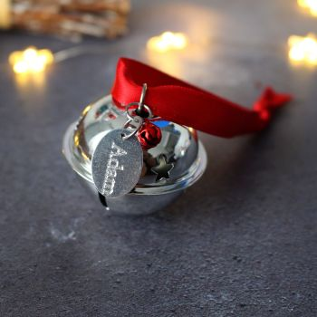 Personalised 'Believe' Jingle Bell Christmas Tree Decoration with Red Ribbon