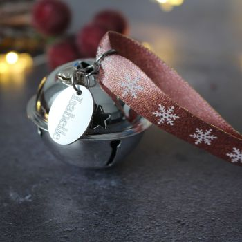 Personalised 'Believe' Jingle Bell Christmas Tree Decoration with Rose Gold Ribbon