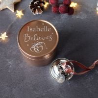 Personalised 'Believe' Jingle Bell Christmas Tree Decoration in a Rose Gold Tin