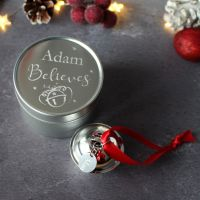 Personalised 'Believe' Jingle Bell Christmas Tree Decoration in a Silver Tin