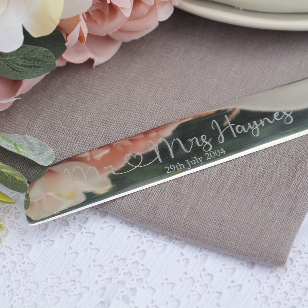 Personalised Silver Wedding Cake Knife