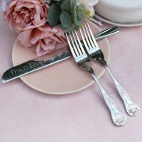 Vintage Style Wedding Cake Knife and Forks Set