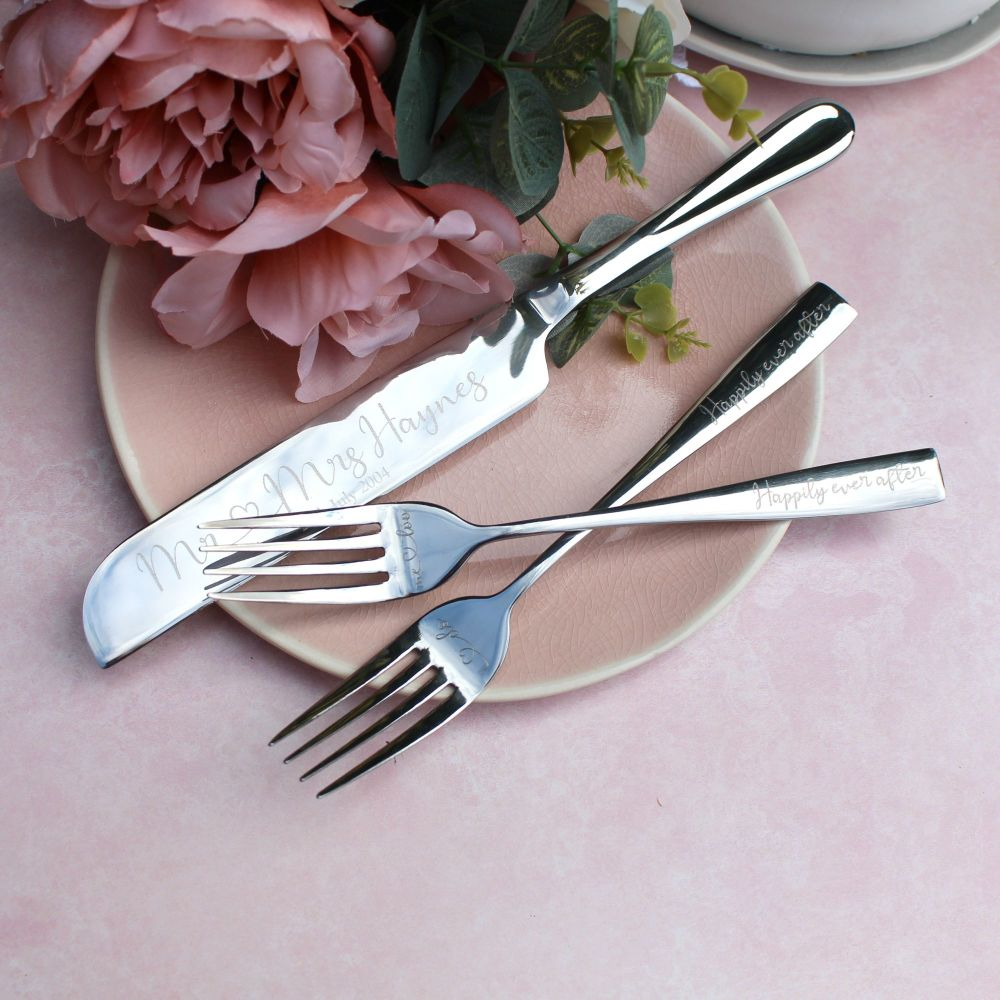 Silver Wedding Cake Knife and Forks Set