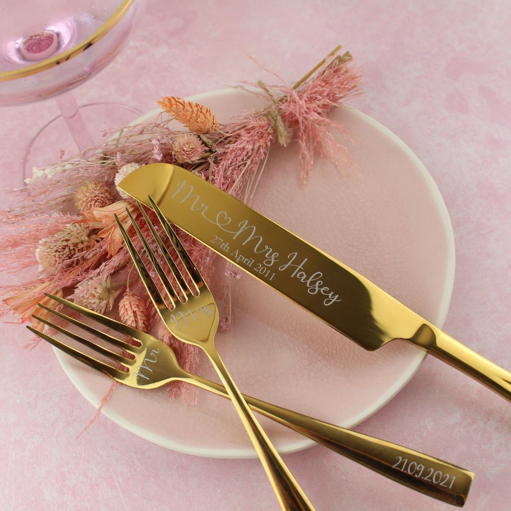 Gold Wedding Cake Knife and Forks Set | Polly Red
