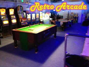 Retro Arcade & Pool Area