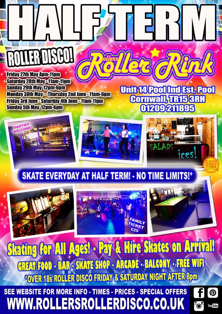 half term whitsun rollers roller rink cornwall 2016