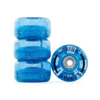 Rio Roller Light Up Flashing Skate Wheels in Blue Glitter (set of 8)