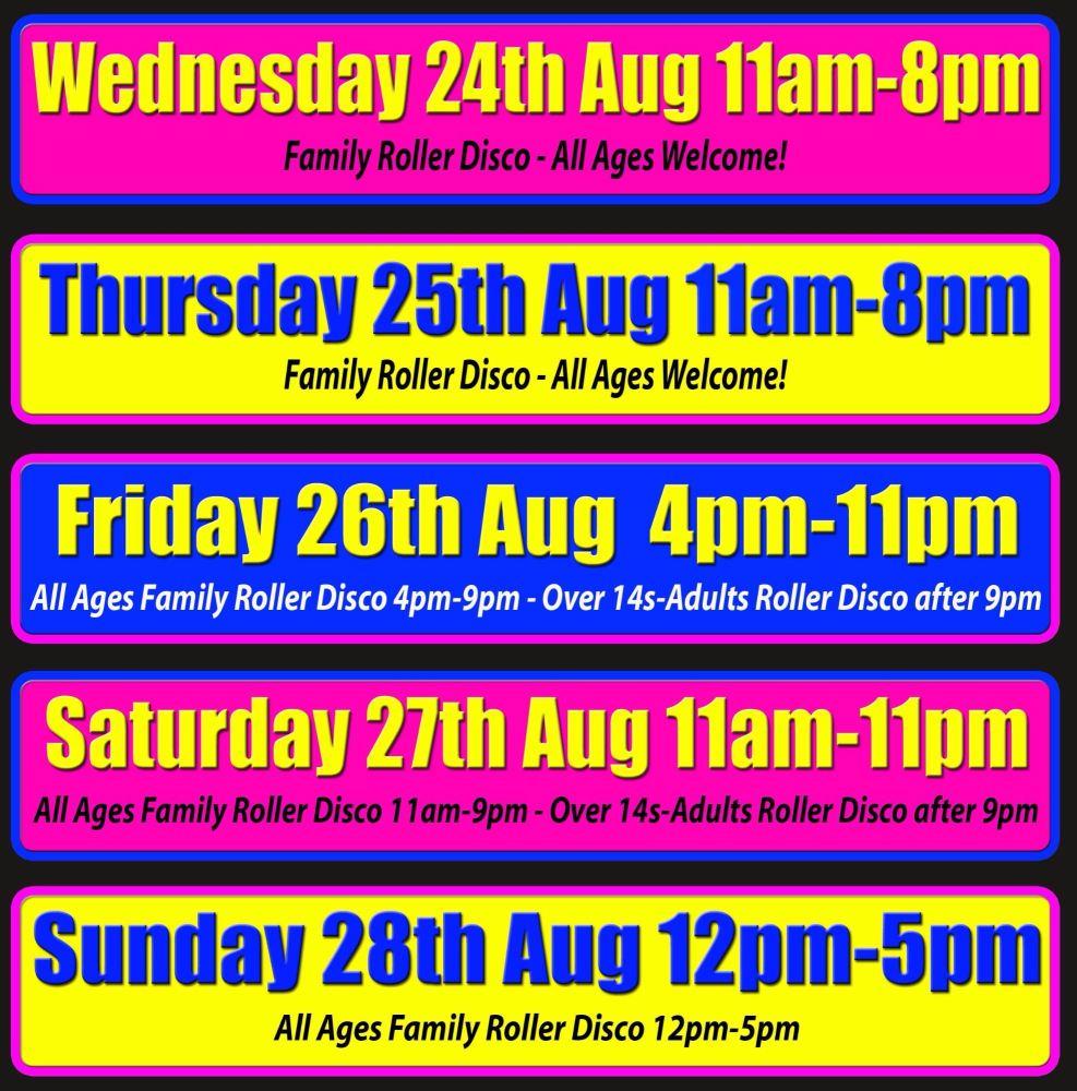 summer roller disco times august cornwall week 5