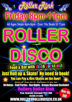 friday roller disco over 16s 8pm-11pm