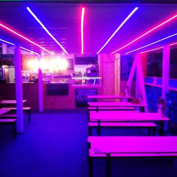 neon lights in the roller disco bar