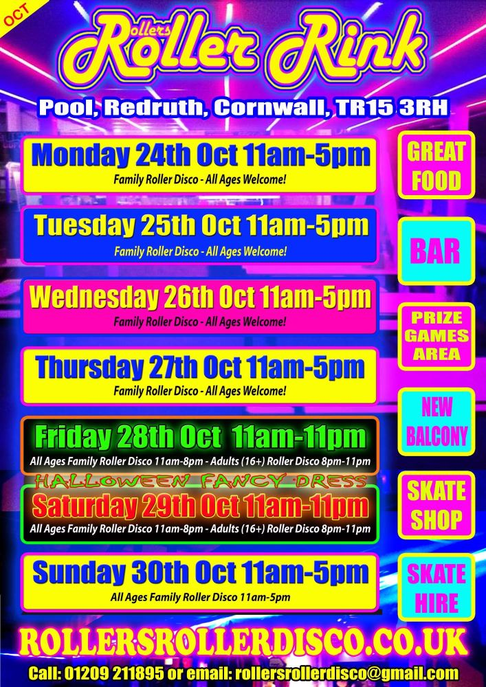 october half term roller disco cornwall