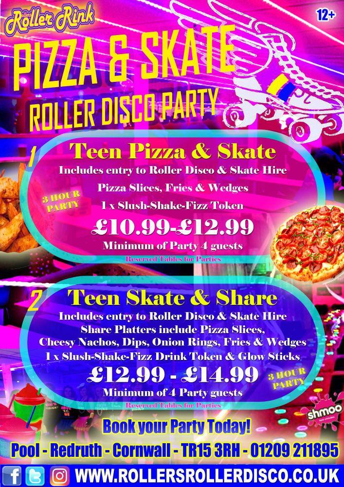 Teen Pizza & Skate Roller Disco Party 2017