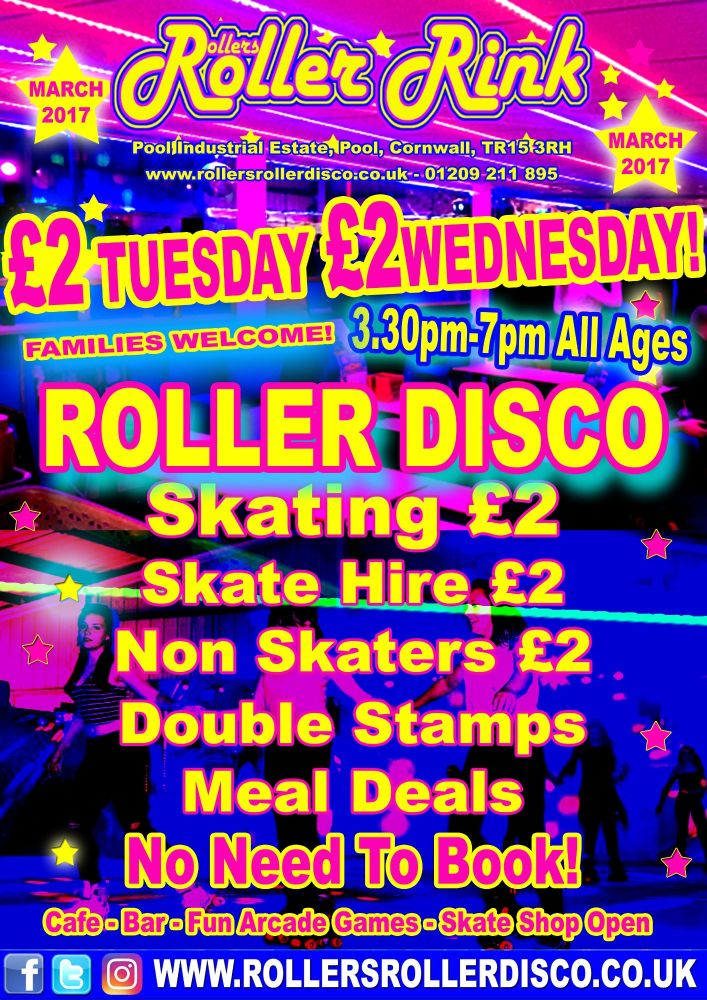 Tuesday & Wednesday Roller Disco Cornwall 2017