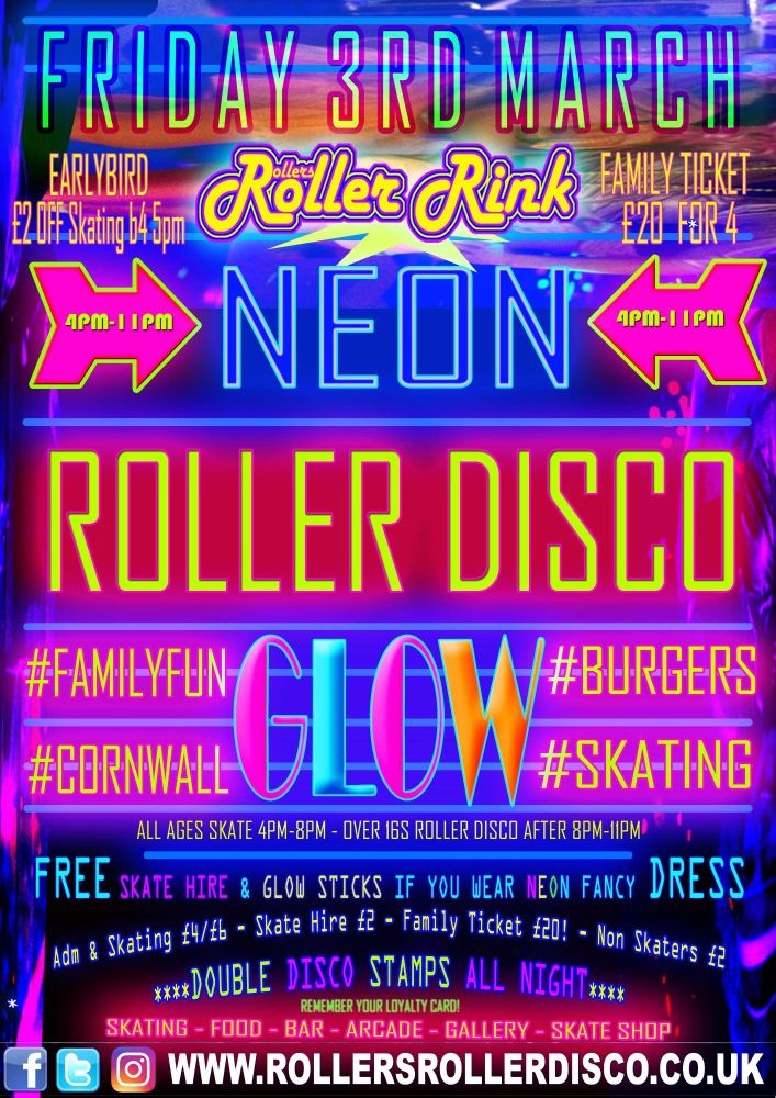 Neon Glow Roller Disco Skate Party Cornwall Friday 3rd March 2017
