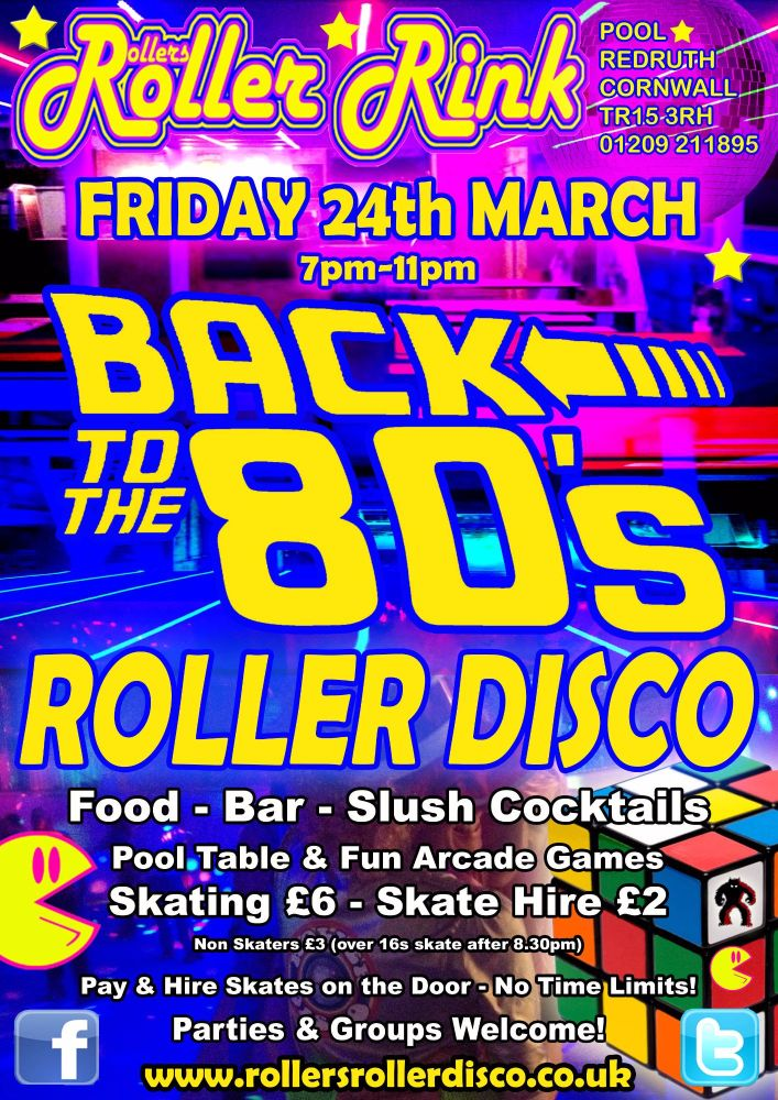 Back to the 80s Roller Disco Friday 24th March