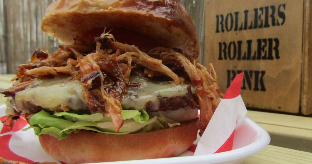 Pulled Pork Burger at the Roller Rink Cornwall