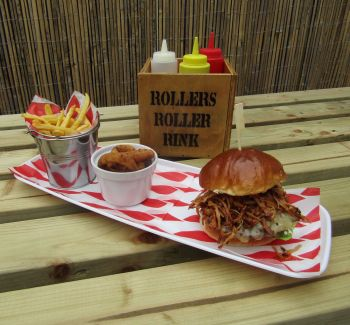Pulled Pork Burger with Disco Fries & Onion Rings