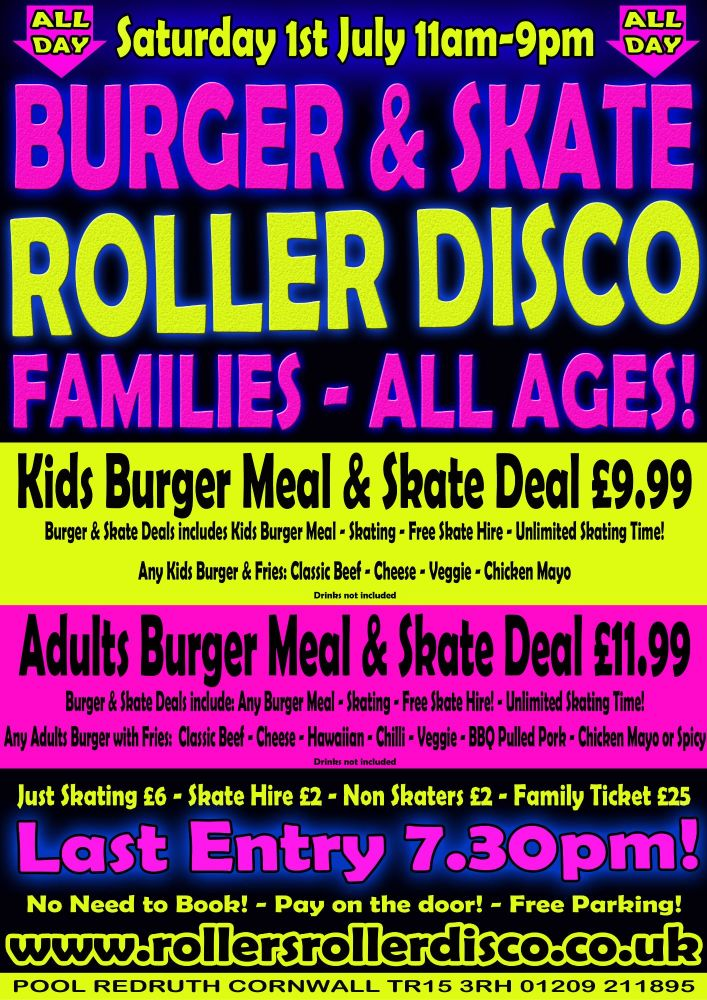 Burger and Skate All Dayer Sat 1st July