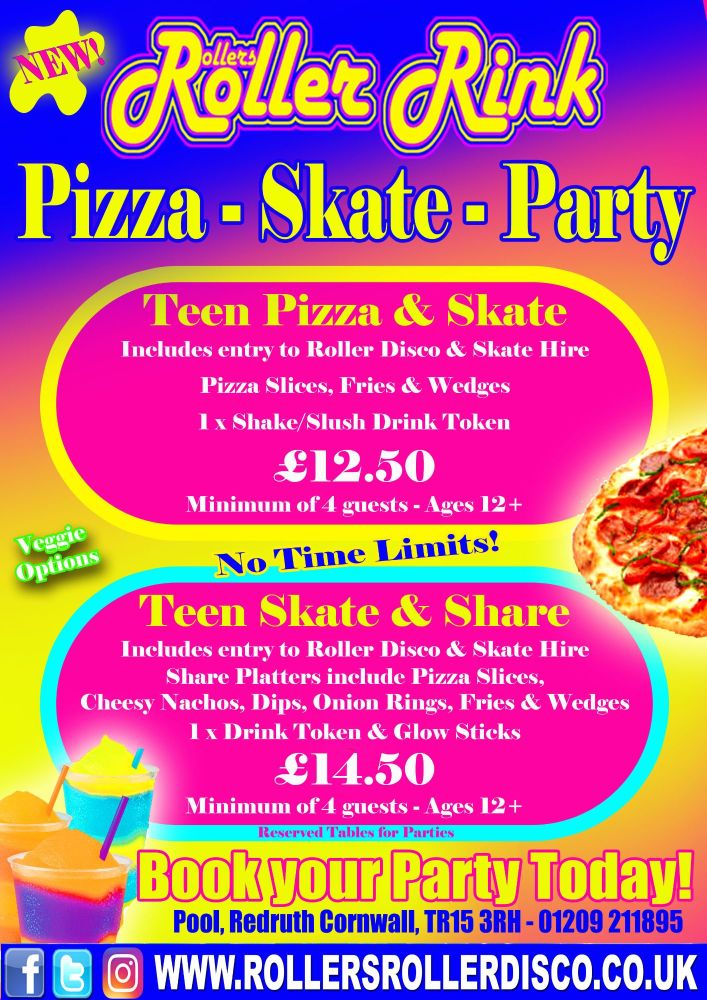 Pizza Skate Party Deals Roller Disco Cornwall